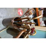 Walking stick stand and a selection of walking sticks including