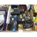 Box of collectables including binoculars, silver clock, Casio watch etc