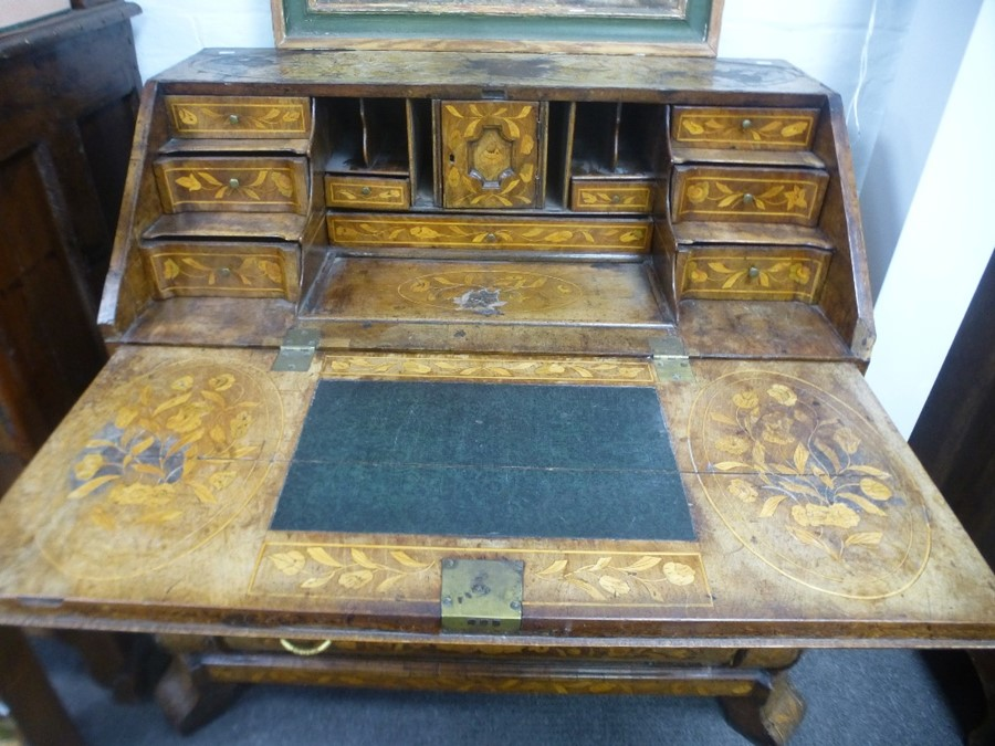 An antique Dutch marquetry bombe bureau having well interior with three long drawers 120cm - Image 4 of 4