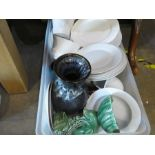 Three crates of china, glass and sundries to include plates, vases, glassware, ornaments