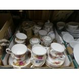 A box of china ware, to include Staffordshire, Portmeirion and Colclough, and a brass carriage clock