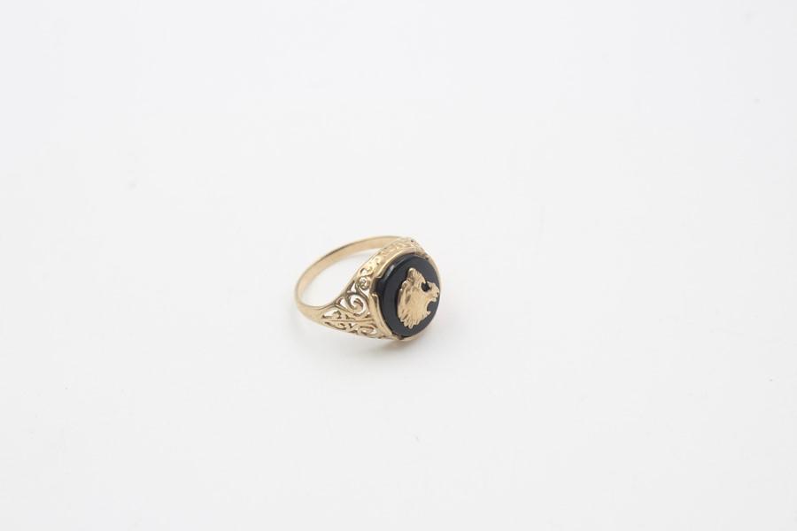 vintage 9ct gold roaring tiger black onyx signet ring 3.7g