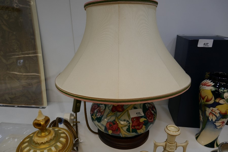 A Moorcroft squat lamp decorated flowers - Image 2 of 2