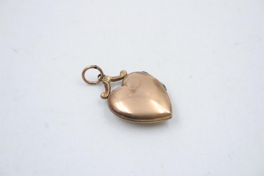 9ct Gold back & front diamond heart locket 2.5g - Image 2 of 5