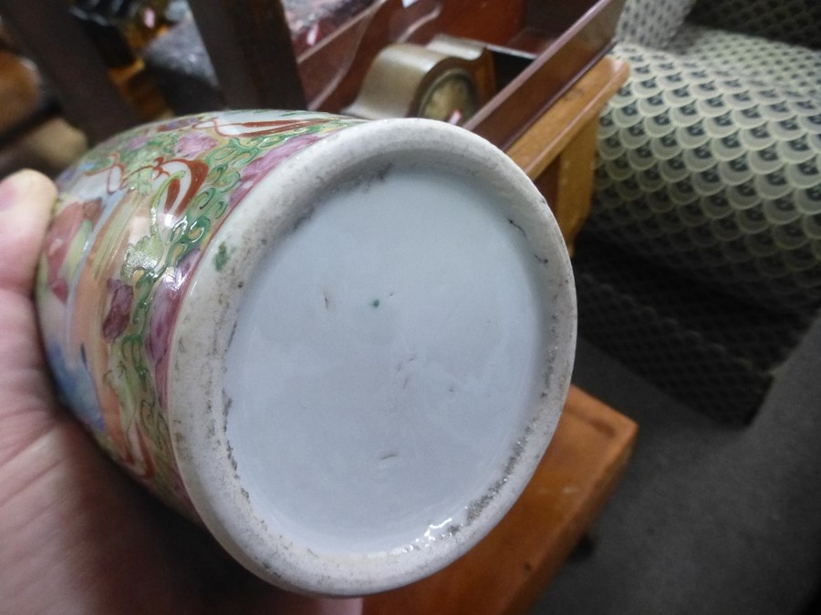 Antique Chinese Canton vase and a large blue and white ginger jar - drilled hole to base - Image 3 of 3
