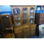 Pine dresser with 3 glazed doors above 3 drawer and 3 cupboards