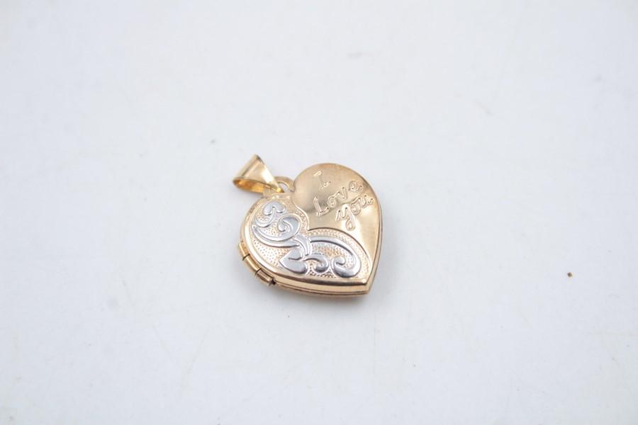 2 x 9ct Gold heart jewellery inc. earrings, locket 2.6g - Image 4 of 6