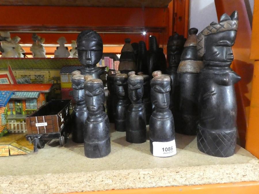 Various carved hardwood African carved figures