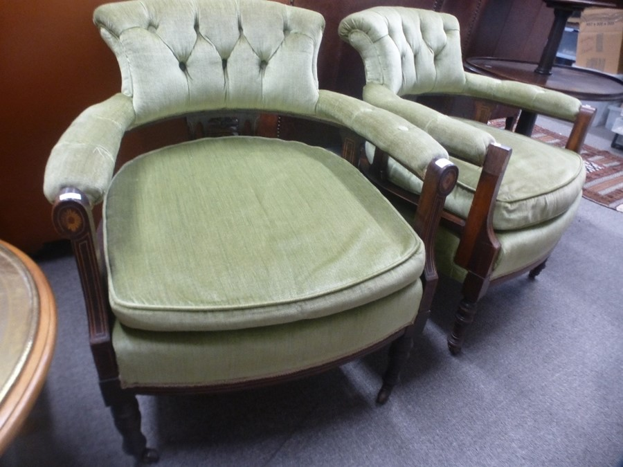 A pair of late Victorian tub armchairs having inlaid decoration with button back. - Image 2 of 2