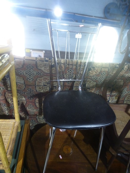 2 Retro chrome and faux leather chairs