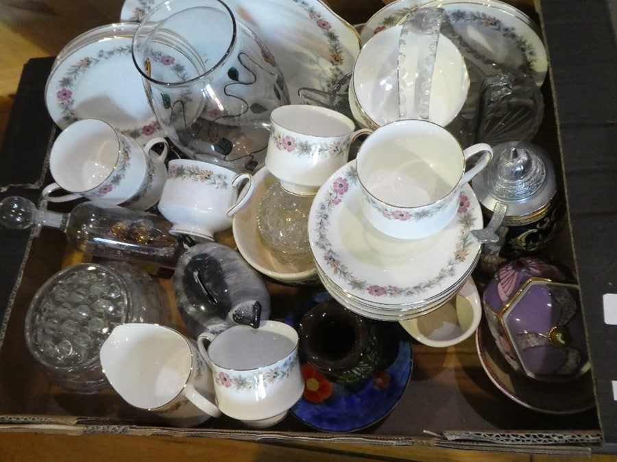 A box of china and glassware