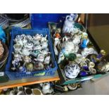 Four boxes of collectables to include small china teapots, collector's plates, jugs, bowls, etc