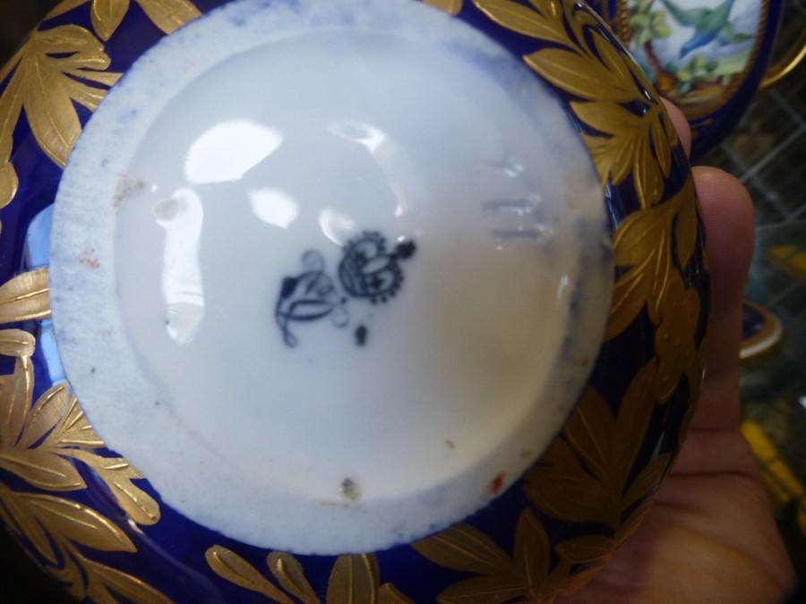 Pair of antique Derby vases having blue and gilt decoration, 1 AF and a Mintons goblet AF - Image 3 of 3