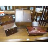 Old oak sloping stationery cabinet, a crocodile leather attache case and sundry