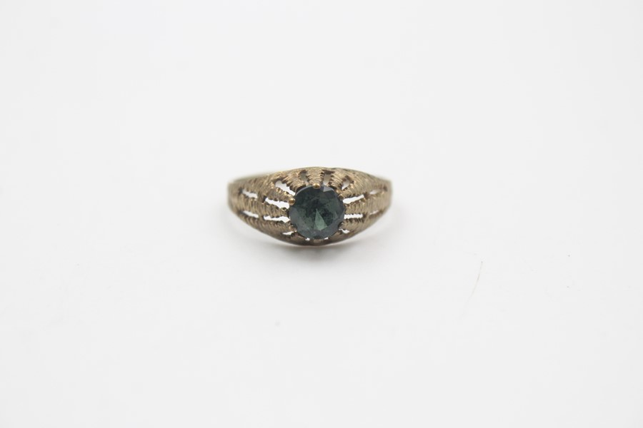 8ct gold modernist textures synthetic spinel ring 1.7g - Image 2 of 5