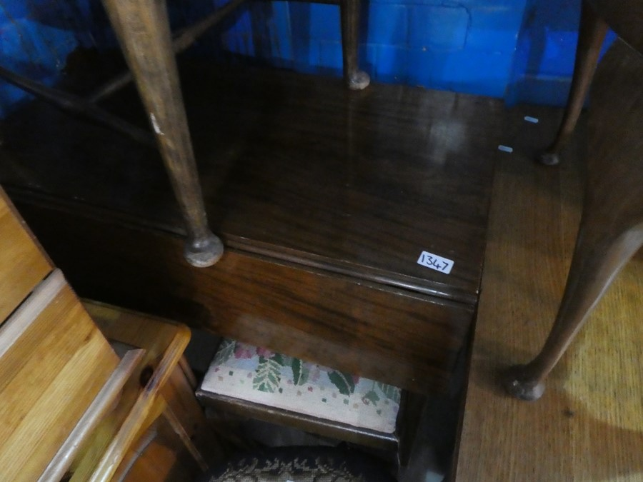 A drop leaf small table with drawer to front on casters and a small round occasional table - Image 2 of 2