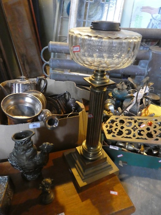 A box of brass items including coffee pots, oil lamps AF and a part cutlery set - Image 4 of 4