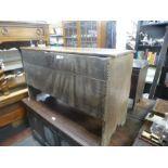 Antique oak plank coffer, probably 18th century, 111cm wide