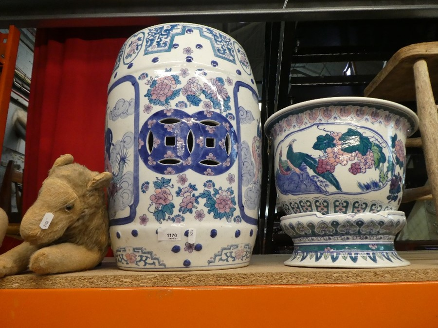 A large ceramic pot stand with pot, oriental designs
