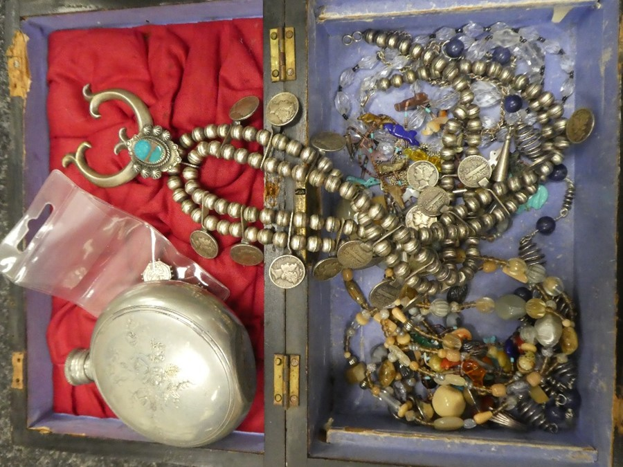 Wooden box containing Middle Eastern white metal jewellery and other costume jewellery