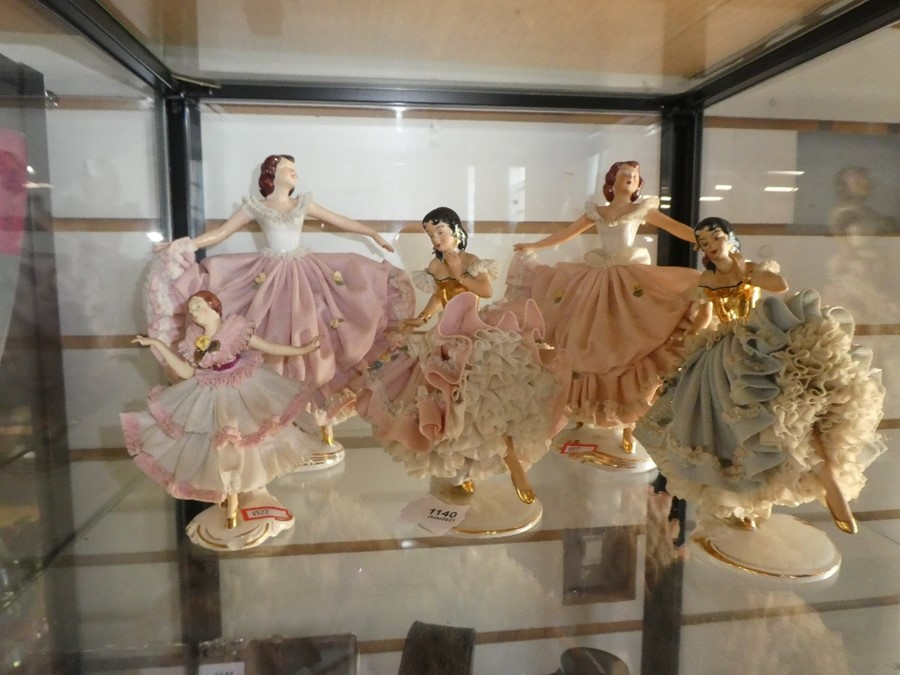 Selection of Capodimonte figurines wearing lace effect costumes - Image 2 of 2