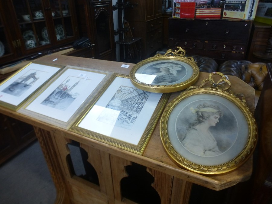 Three pictures of London signed M S Tabbener and 2 oval classical style prints