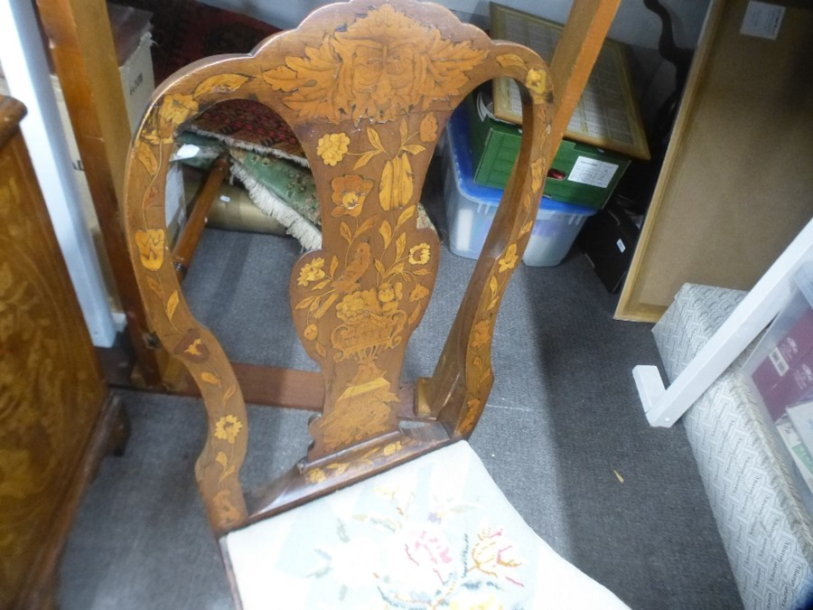 4 Similar antique Dutch marquetry dining chairs with tapestry drop seats - Image 3 of 3