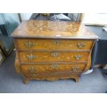 An antique Dutch marquetry chest of Bombe shape with 4 long drawers, 82cm