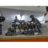 2 Spelter figures depicting soldiers and a sandal clad model of a foot AF