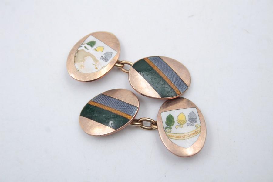 9ct Gold enamel cufflinks 6.4g - Image 5 of 5