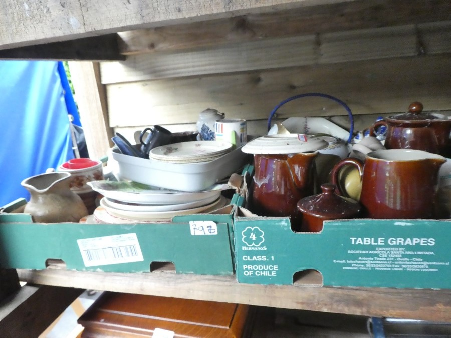 Nine Boxes of mixed china, glass and sundries to include plates, dishes, honey pots, etc