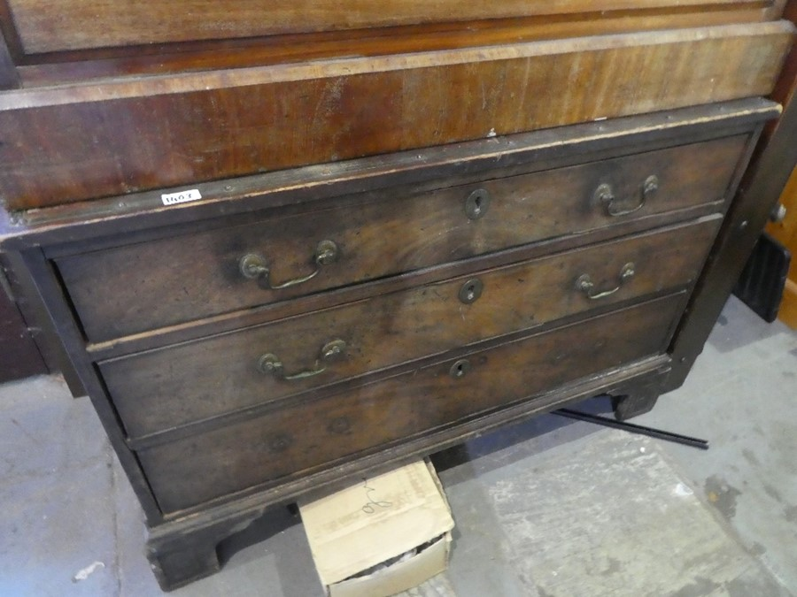 2 Vintage wooden chest of drawers with brass handles and locks to front - Image 2 of 2