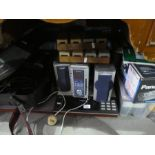 A Bang & Olufsen Beocenter record player deck plus 2 Speakers, an AIWA x RMD57 slides, Panasonic vid