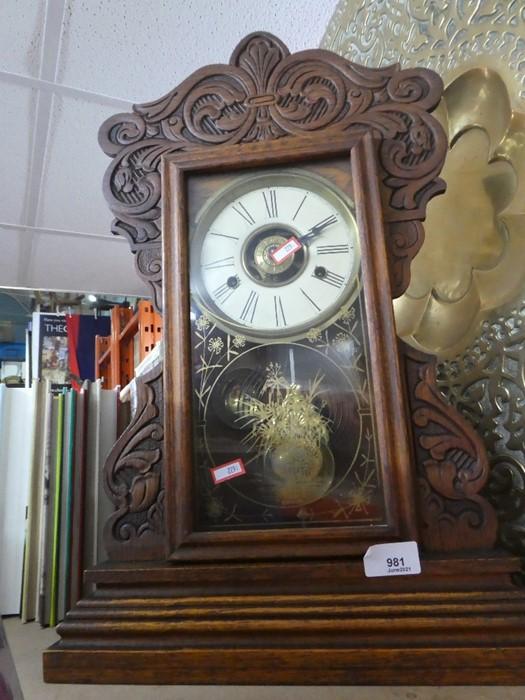Vintage wooden cased pendulum wall clock