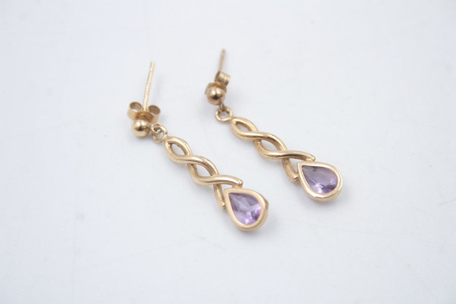2 x 9ct Gold earrings inc. amber, amethyst 4g - Image 4 of 5
