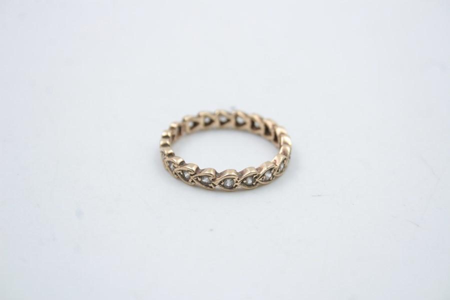 vintage 9ct gold gemstone eternity ring 2.2g - Image 2 of 4