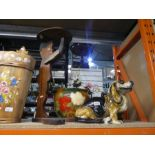 Wooden stool, china Bassett Hound dog, wooden boy table and large vase with stand and flowers, etc