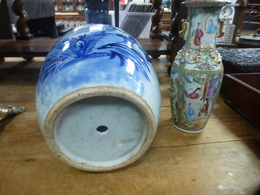 Antique Chinese Canton vase and a large blue and white ginger jar - drilled hole to base - Image 2 of 3