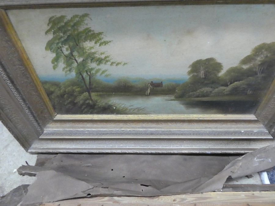 Three framed oil on board pictures depicting mostly landscapes - Image 4 of 4