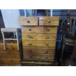 Two pine chest of drawers and a small pine storage unit with drawer and cupboard