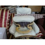 Cream leather chair and footstool