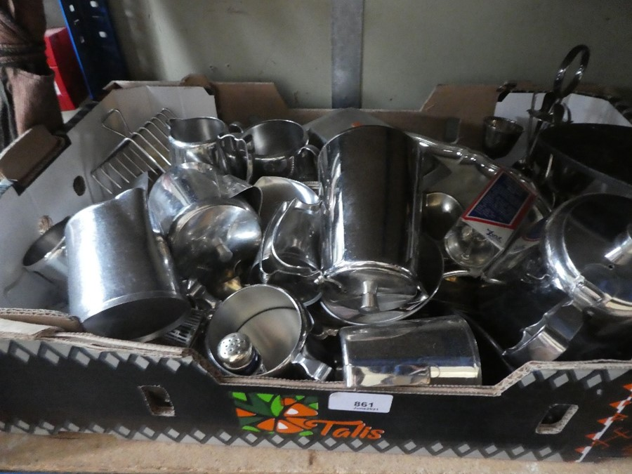 A selection of vintage stainless steel tea, coffee and milk jugs, etc