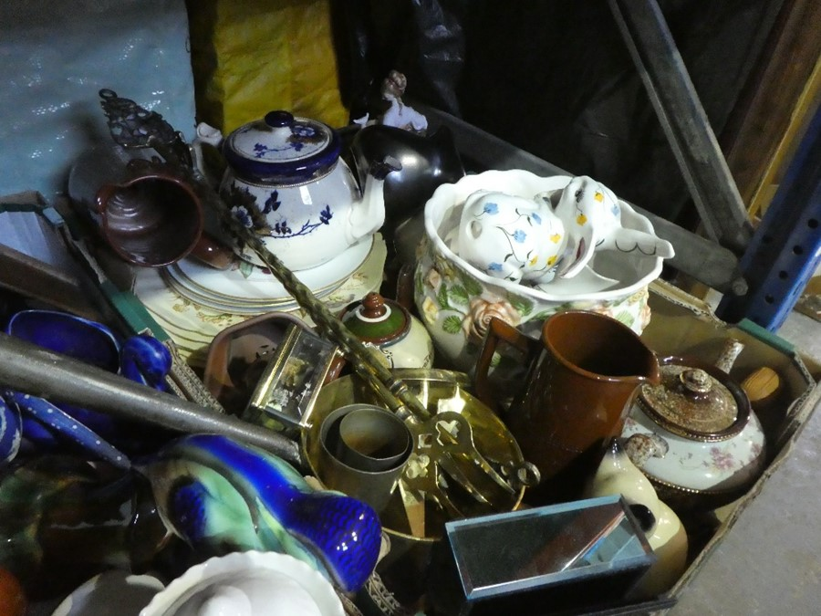 Three boxes of china ware and collectables to include teaware, jugs, brass items, ornaments, etc - Image 3 of 3