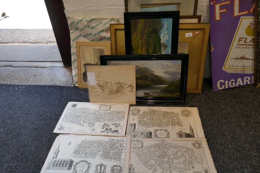 A small quantity of 19th century engravings an old etchings by Thomas Daniell and other pictures