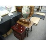 An antique Serpentine fronted dressing mirror having three drawers and two other items
