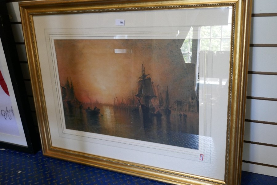 F.G Hart an antique watercolour of ships at dusk, signed 64x42cms approx - Image 3 of 4