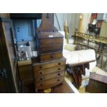 A Victorian mahogany wall bracket and antique miniature chest having 4 drawers and 2 other items