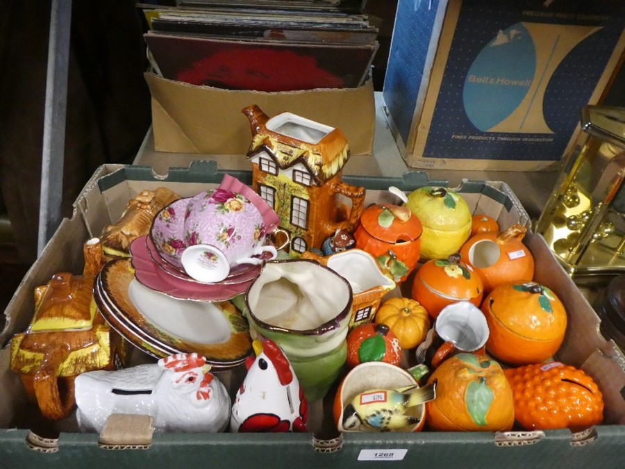 A box containing cottage ware and retro style orange marmalade pots, Country Roses cup, etc
