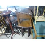 Drop leaf table on barley twist supports and a wooden writing slope with drawers etc