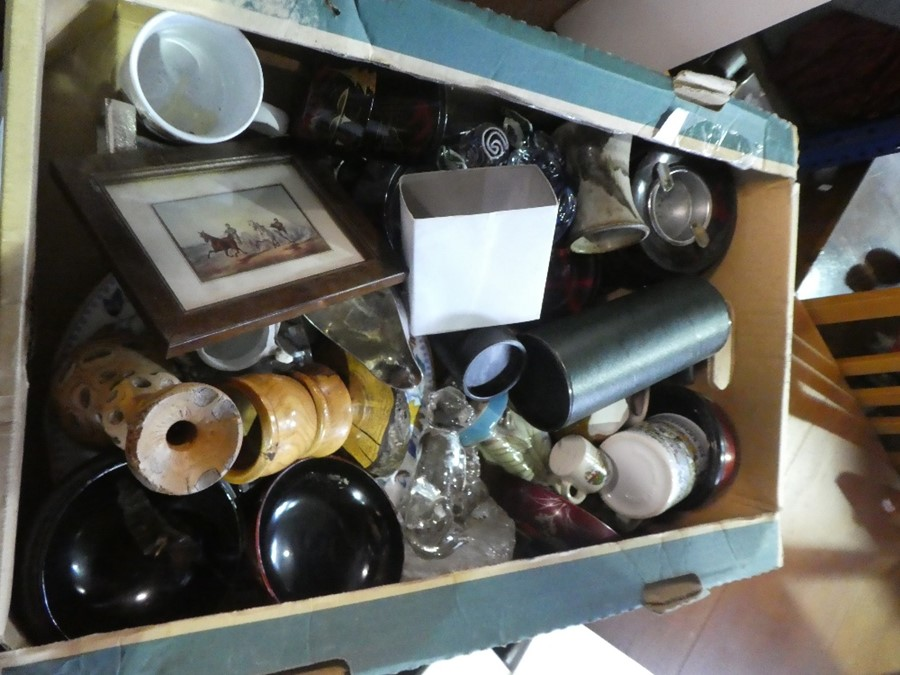 A box of collectables to include glass fish, china bowl, silver plate and treen etc